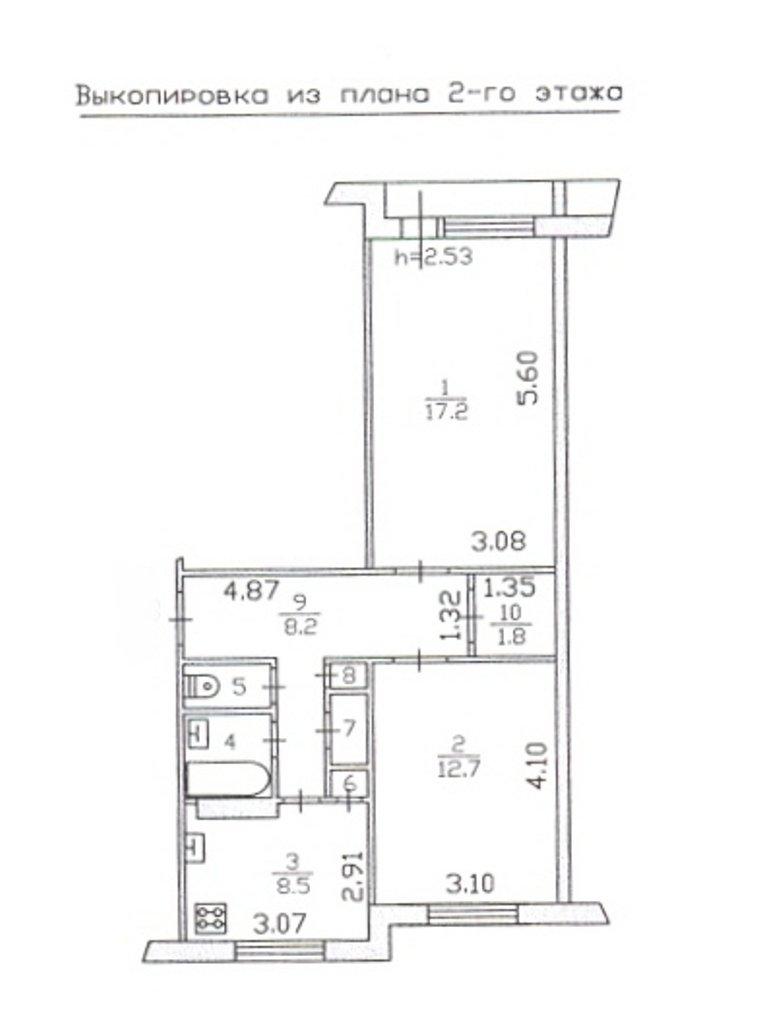 Продаётся квартира 52.8 кв. м 2 600 000 руб., ленинградская .
